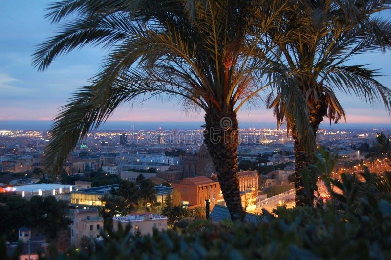 powietrzny Barcelona barceloneta pejzaż miejski colom Columbus Kolumna De Okręg passeig dobro widzieć uliczny widok zdjęcie stock