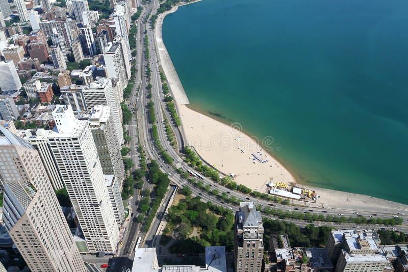 Powietrzny Chicagowski widok, budynki, plaże i jezioro michigan, zdjęcie stock