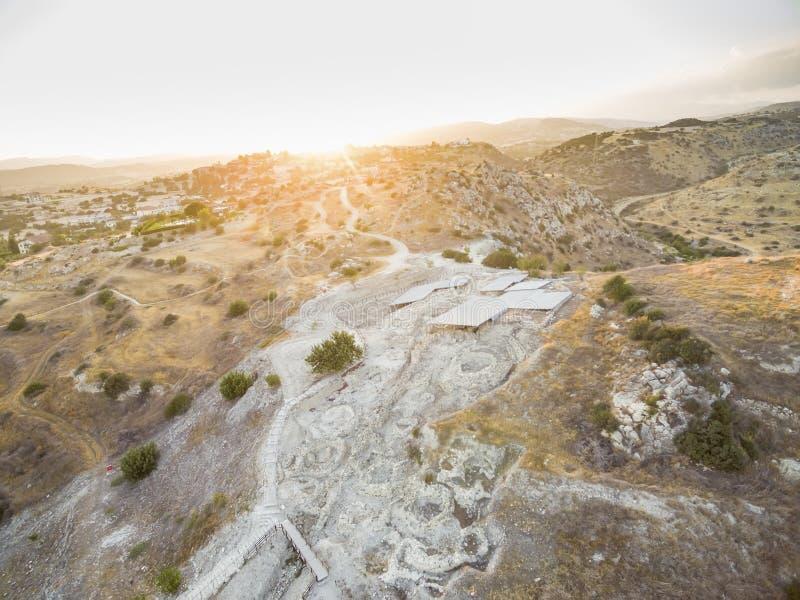 Powietrzny Choirokoitia, Larnaka, Cypr zdjęcia royalty free