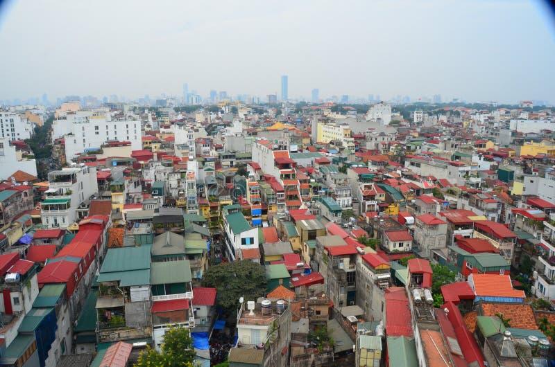 Powietrzny dachu widok zatłoczony Hanoi Wietnam mieści pokazywać warunek życiowy zdjęcie royalty free