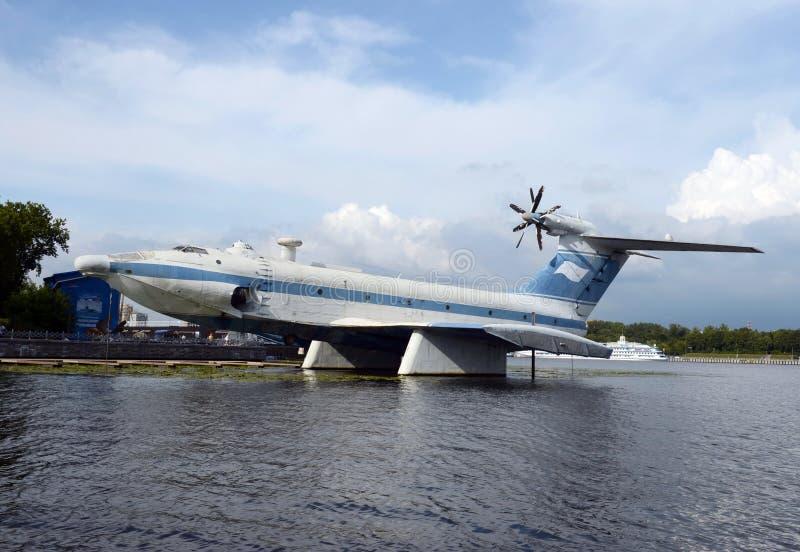 Powietrzny ekranoplan projekta 904 ` orlęcia ` przy Khimki rezerwuarem w Moskwa fotografia stock