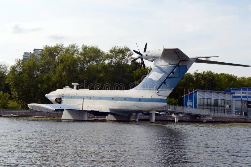Powietrzny ekranoplan projekta 904 ` orlęcia ` przy Khimki rezerwuarem w Moskwa obrazy stock