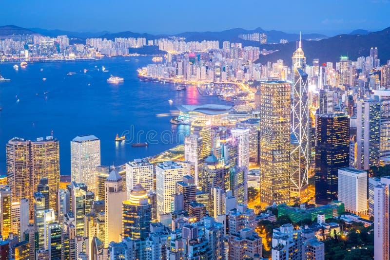 Powietrzny Hong Kong pejzaż miejski fotografia royalty free