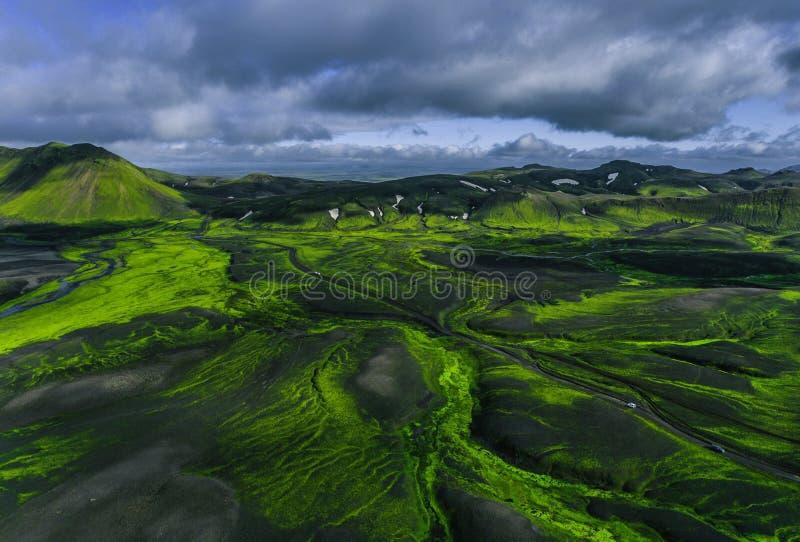 Powietrzny Iceland krajobraz zdjęcia royalty free