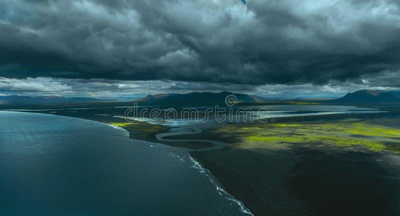 Powietrzny Iceland krajobraz fotografia stock
