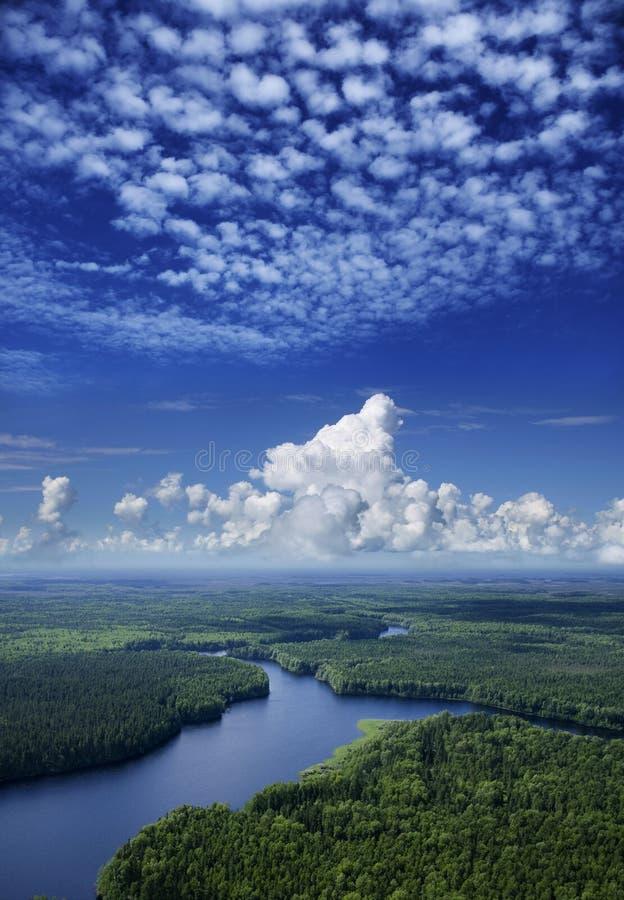 powietrzny lasowy rzeczny widok zdjęcia royalty free