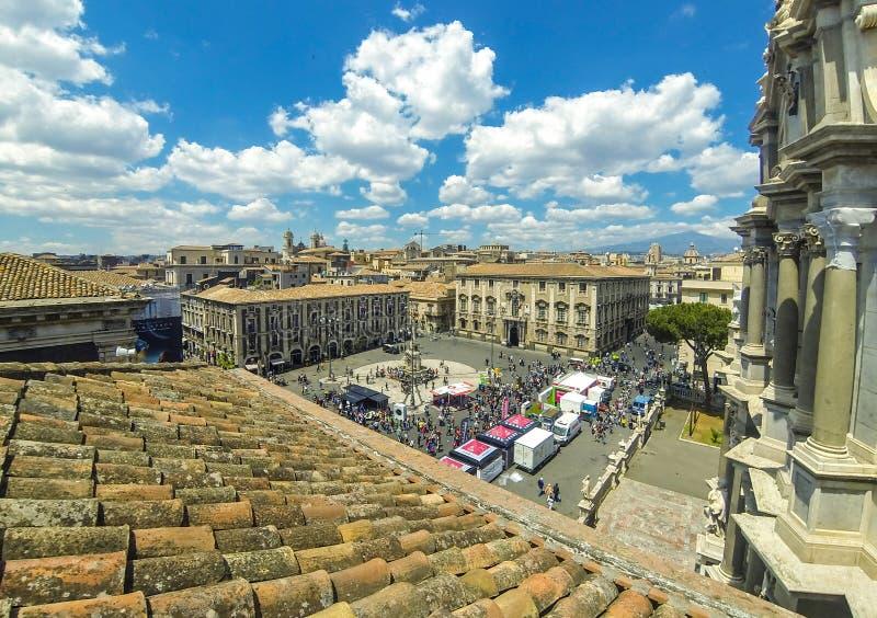 Powietrzny linia horyzontu widok Catania stary miasteczko, Sicily, Włochy obrazy royalty free