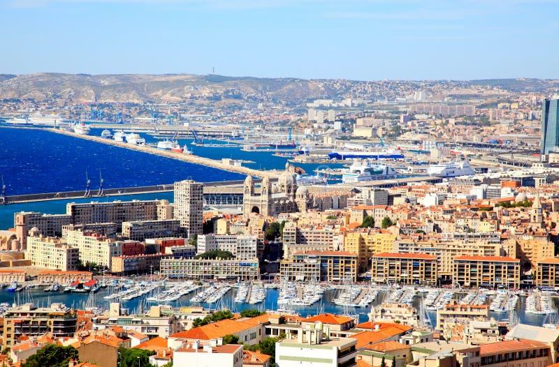 powietrzny miasta schronienia Marseille widok zdjęcie stock
