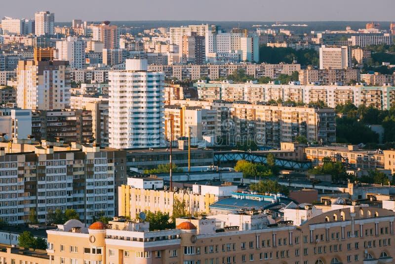 Powietrzny miastowy widoku pejzaż miejski Minsk, Białoruś zdjęcia stock