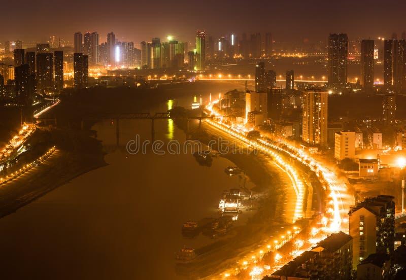 Powietrzny noc widoku pejzaż miejski Han rzeka w Wuhan Chiny fotografia royalty free