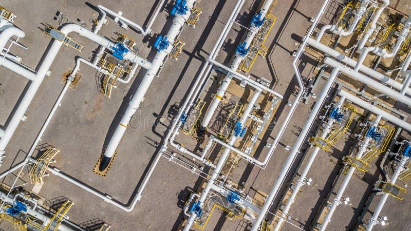 Powietrzny odgórnego widoku gazu naturalnego rurociąg, przemysł gazowy, benzynowy transpor fotografia royalty free