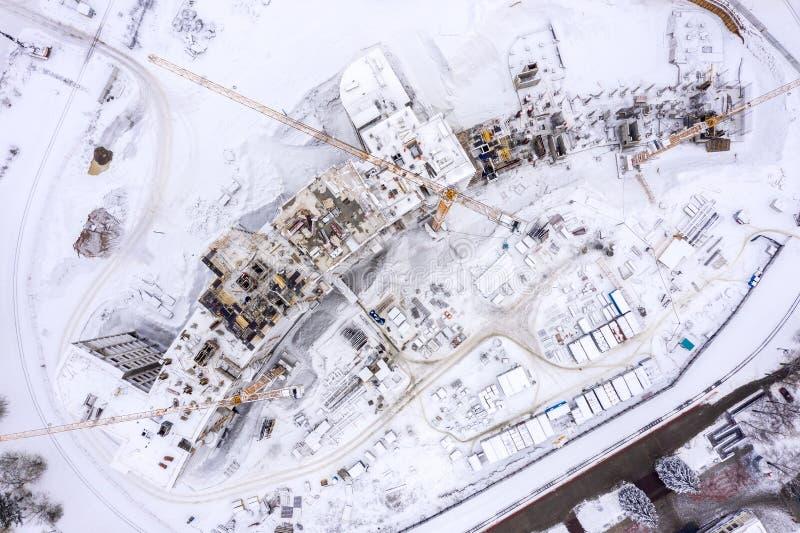 Powietrzny odgórny widok budowa w zimie budynek nowy obszar zamieszkały zdjęcia royalty free