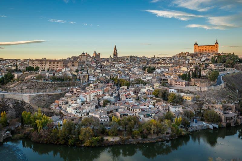 Powietrzny odgórny widok Toledo, dziejowa stolica Hiszpania zdjęcia royalty free