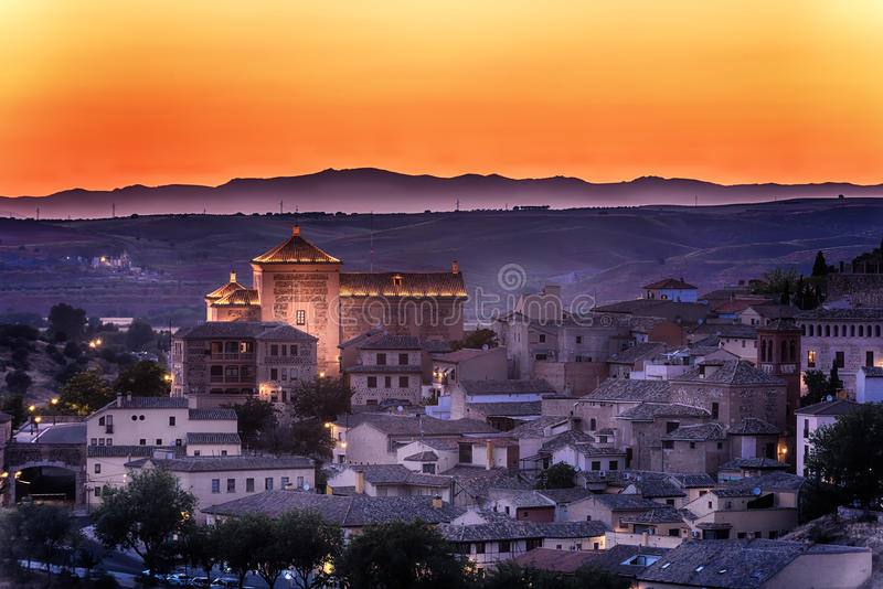 Powietrzny odgórny widok Toledo, dziejowa stolica Hiszpania obrazy royalty free