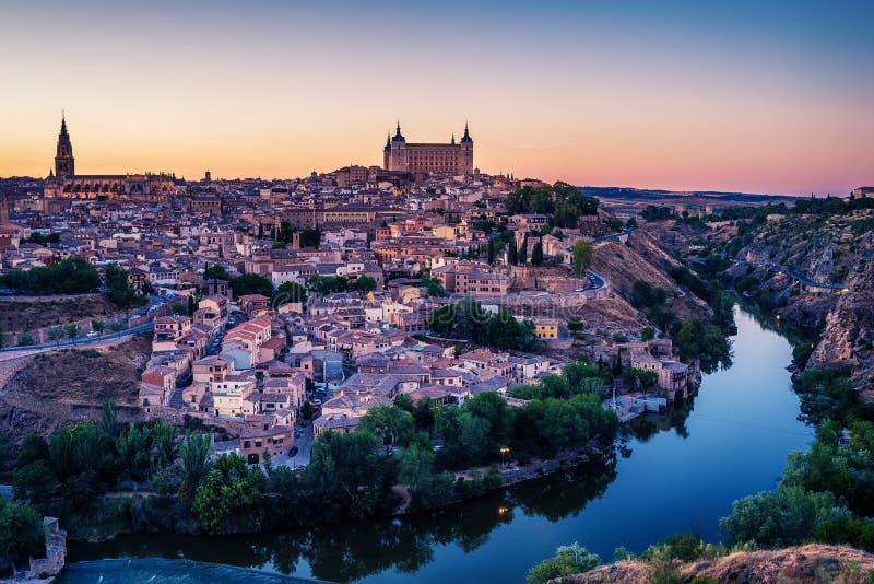Powietrzny odgórny widok Toledo, dziejowa stolica Hiszpania zdjęcia stock