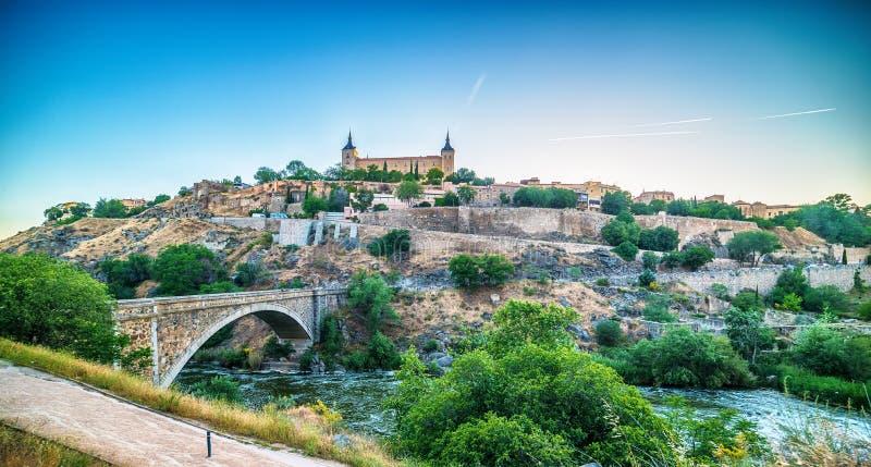 Powietrzny odgórny widok Toledo, dziejowa stolica Hiszpania zdjęcie royalty free