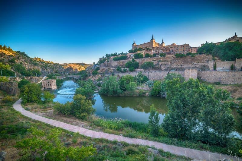 Powietrzny odgórny widok Toledo, dziejowa stolica Hiszpania obrazy stock
