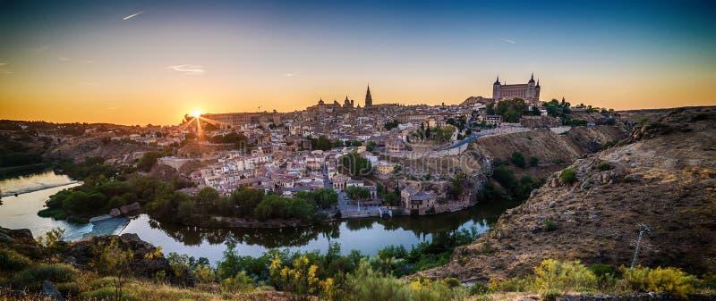 Powietrzny odgórny widok Toledo, dziejowa stolica Hiszpania obraz royalty free