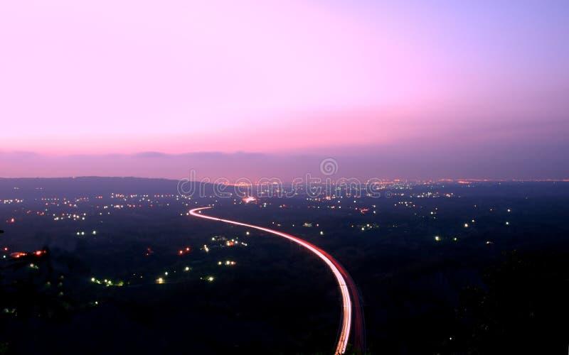 powietrzny półmroku autostrady widok zdjęcie stock