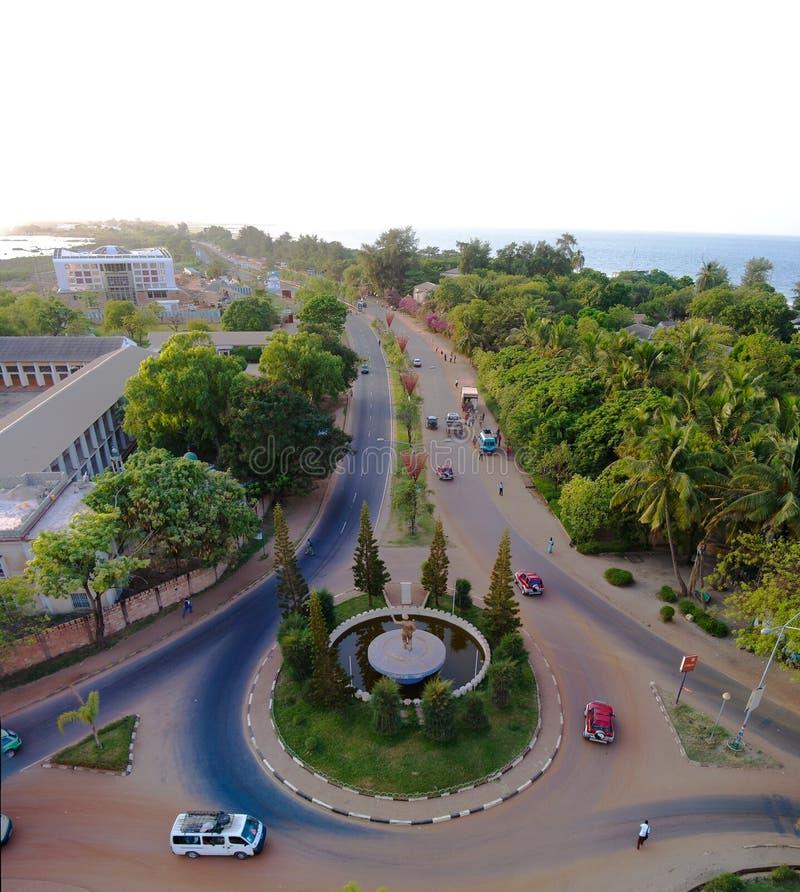 Powietrzny panorama widok miasto Banjul i Gambia rzeka zdjęcia stock