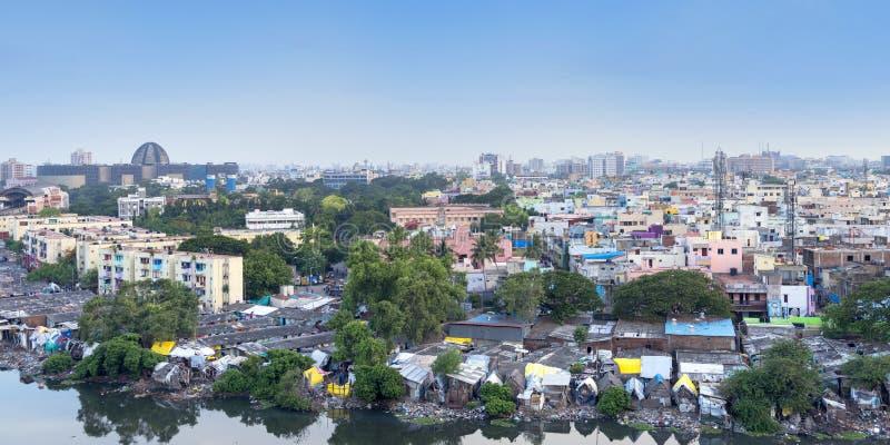 Powietrzny Panoramiczny pejzażu miejskiego widok Chennai, tamil nadu, India obraz stock