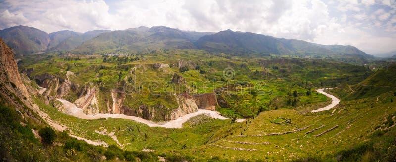 Powietrzny panoramiczny widok Colca jar od antahuilque punkt widzenia, Chivay, Arequipa, Peru obrazy stock