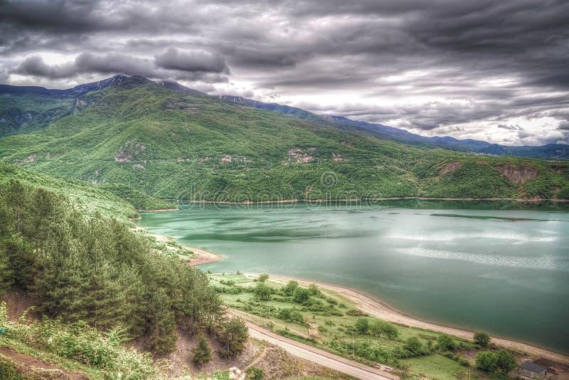 Powietrzny panoramiczny widok jezioro Debar, P??nocny Macedonia obraz stock