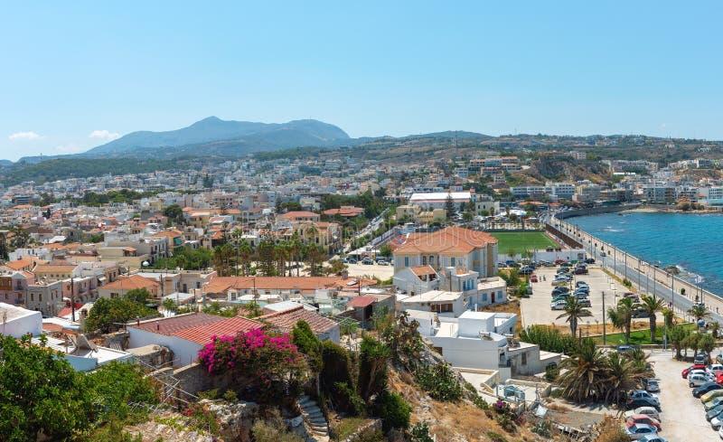 Powietrzny panoramiczny widok na mieście Rethimno, Crete wyspa, Grecja fotografia royalty free