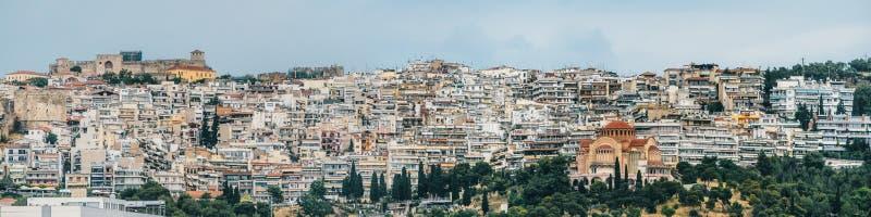 Powietrzny panoramiczny widok Saloniki miasto, stary Bizantyjski kasztel obraz stock