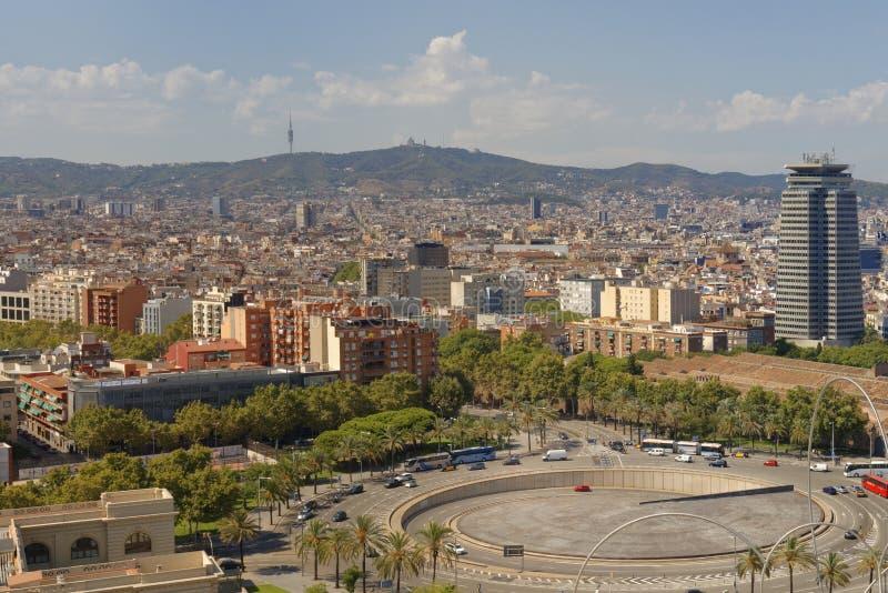 Powietrzny pejzaż miejski Barcelona od montjuic wagonu kolei linowej, Catalonia, Hiszpania zdjęcie stock