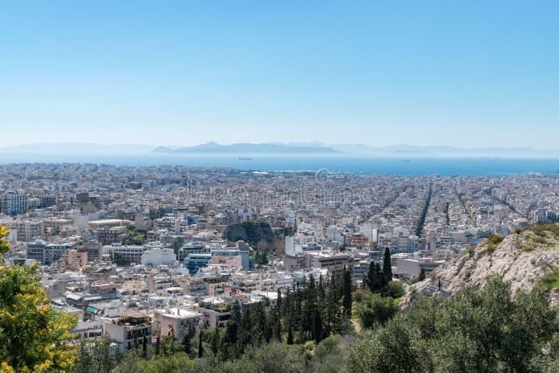 Powietrzny piękny pejzażu miejskiego widok Ateny fotografia stock