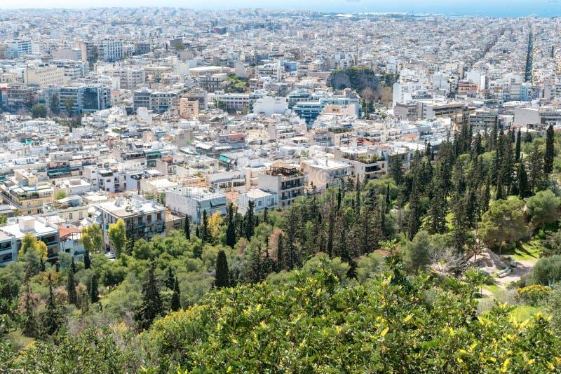 Powietrzny piękny pejzażu miejskiego widok Ateny obraz royalty free