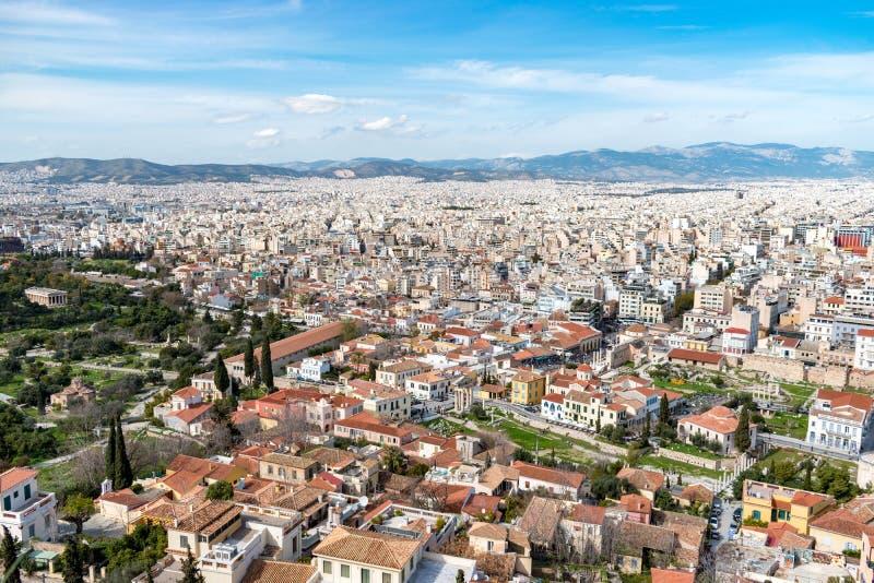 Powietrzny piękny pejzażu miejskiego widok Ateny Grecja fotografia stock