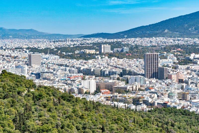 Powietrzny piękny pejzażu miejskiego widok Ateny Grecja zdjęcie royalty free