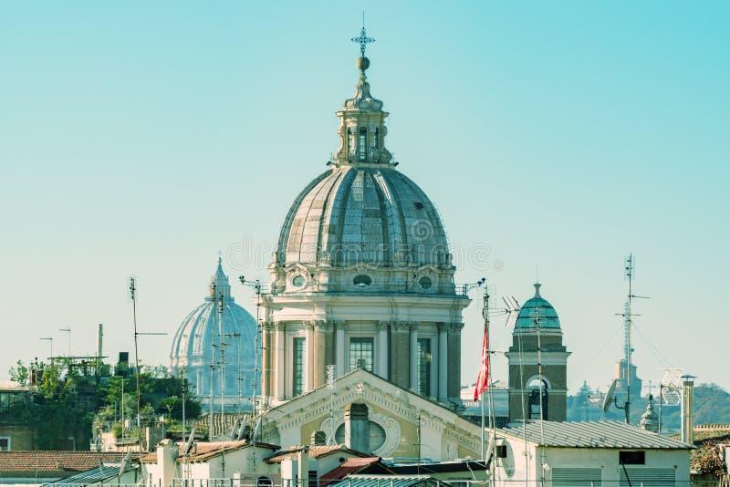 Powietrzny piękny pejzażu miejskiego widok Rzym obraz royalty free