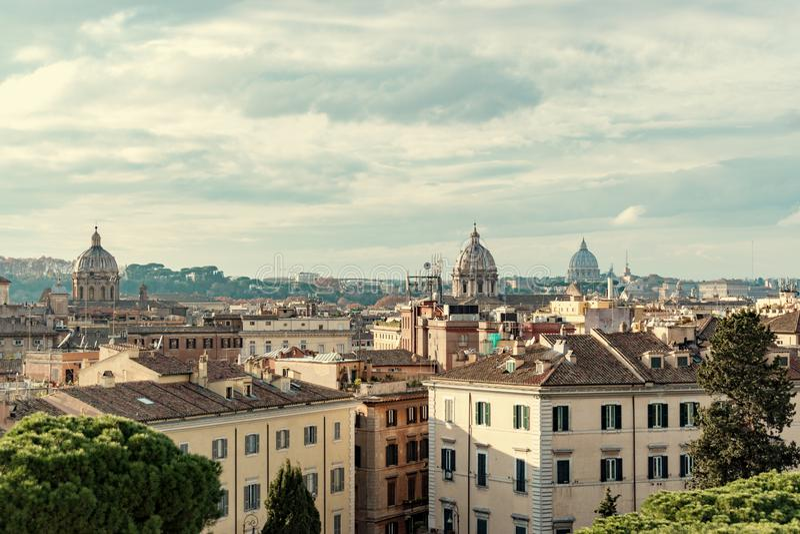 Powietrzny piękny pejzażu miejskiego widok Rzym Włochy obrazy royalty free