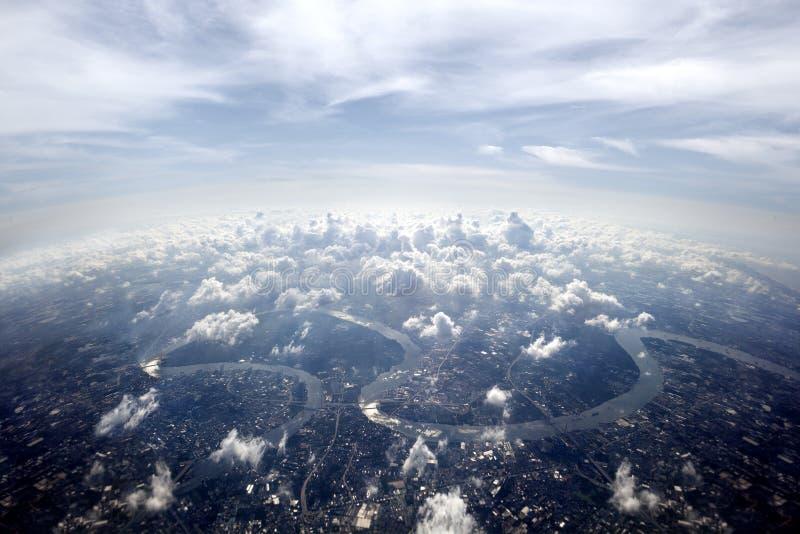 Powietrzny przeglądu Bangkok pejzaż miejski obrazy stock