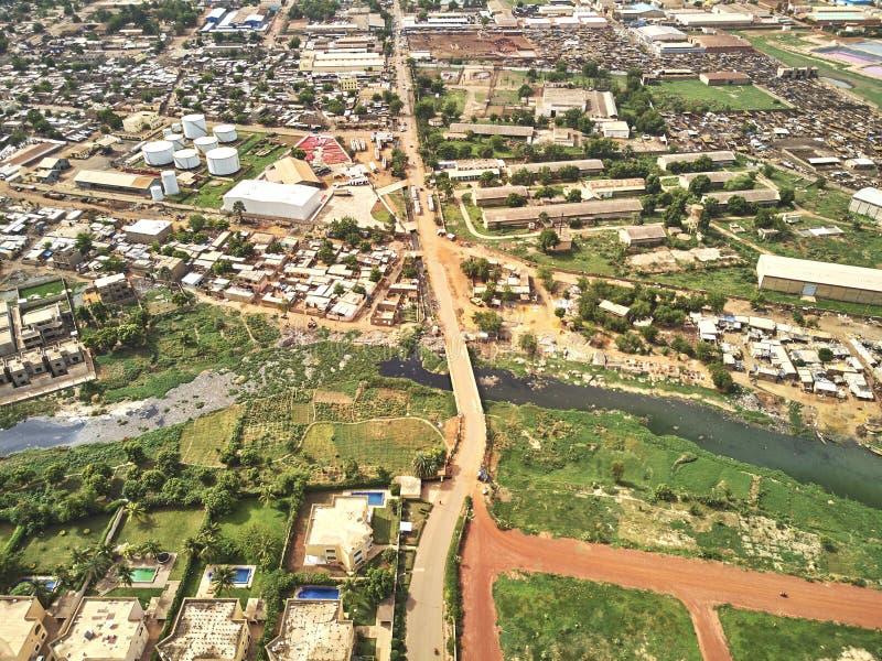 Powietrzny trutnia widok niarela Quizambougou Niger Bamako Mali obraz stock