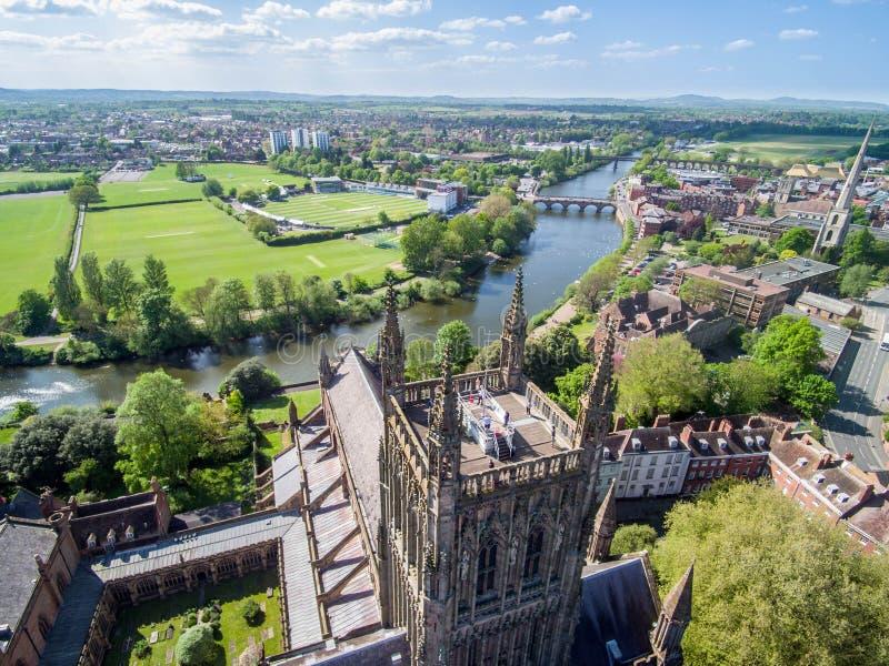 Powietrzny trutnia widok Worcester katedra obraz royalty free