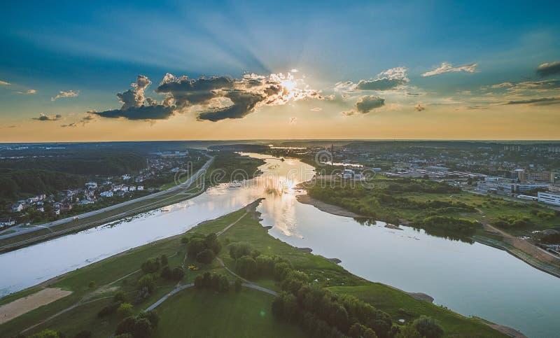 Powietrzny wizerunek Kaunas miasto, Lithuania fotografia royalty free
