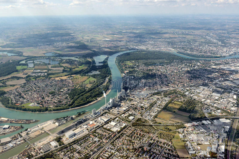 Powietrzny wizerunek Mannheim, Niemcy obrazy royalty free