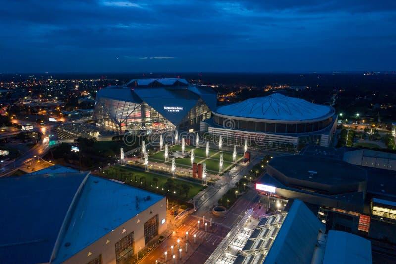 Powietrzny wizerunek Mercedez Benz stadium Atlanta fotografia royalty free