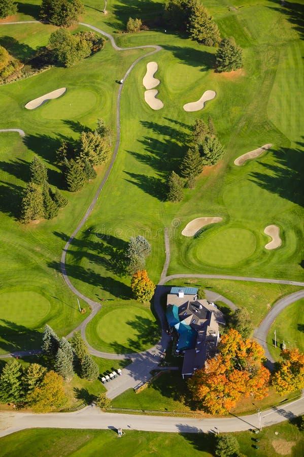Powietrzny wizerunek pole golfowe. fotografia stock