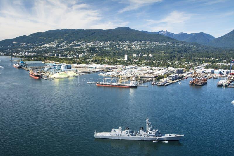 Powietrzny wizerunek schronienie w Vancouver, BC zdjęcie stock