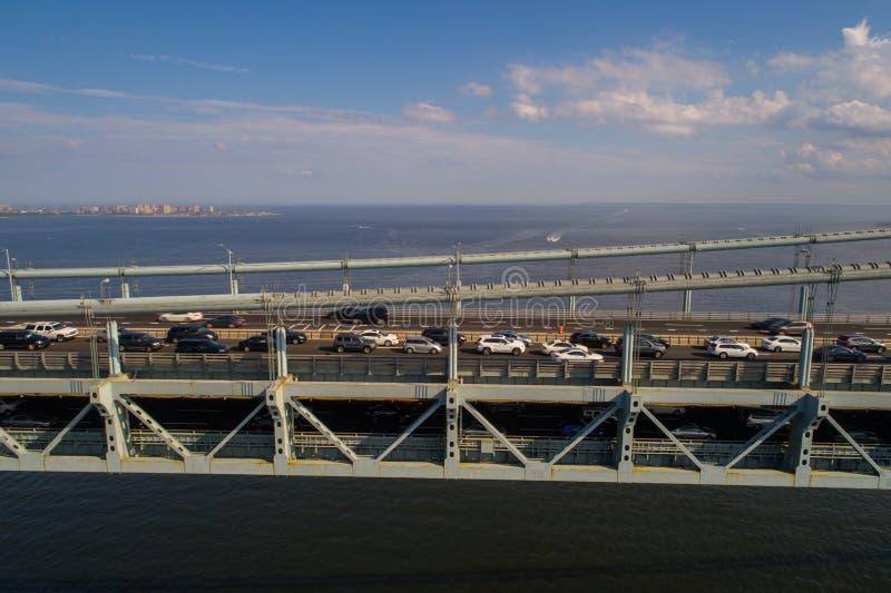 Powietrzny wizerunek Verrazano przesmyki Przerzuca most Nowy Jork obrazy stock