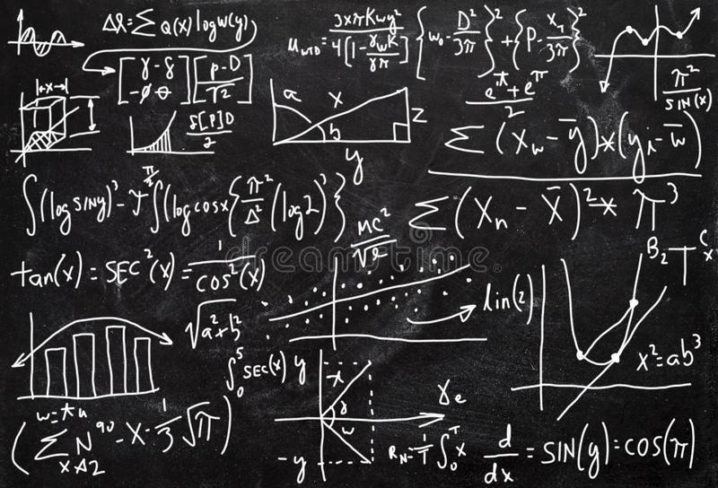 Powikłana matematyka, arytmetyka, Chalkboard tło royalty ilustracja