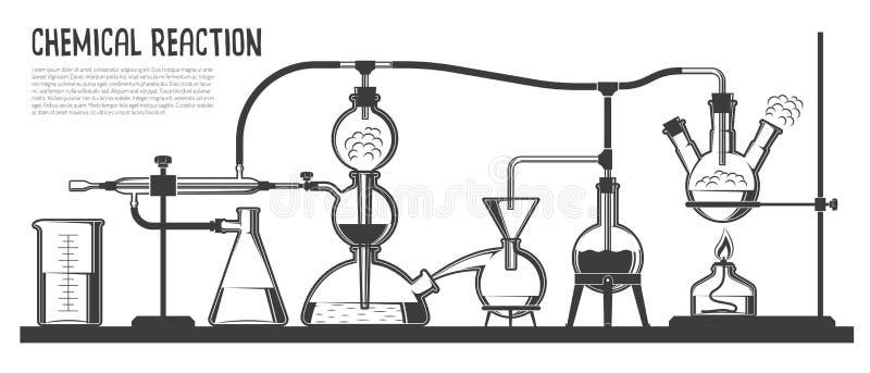 Powikłany chemiczny proces ilustracja wektor
