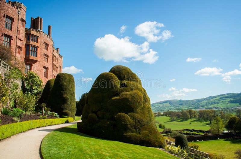 Powis城堡和庭院 免版税库存图片