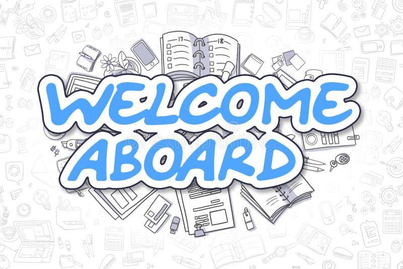 Powitania Aboard - Doodle błękita tekst pojęcia prowadzenia domu posiadanie klucza złoty sięgający niebo ilustracji