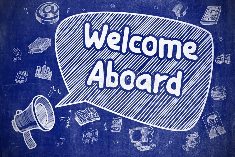 Powitania Aboard - Doodle ilustracja na Błękitnym Chalkboard ilustracji